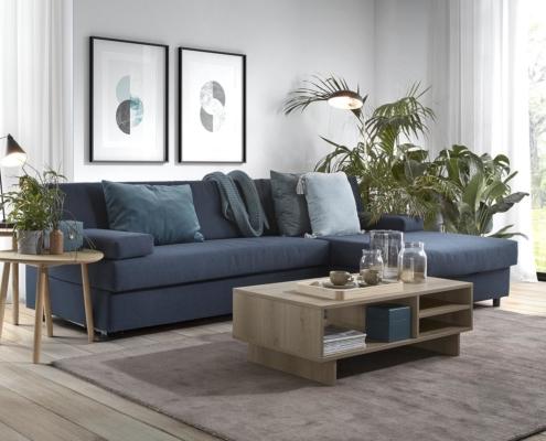 Slaapbank Recor blauw Dave met loungegedeelte